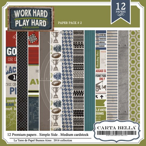 CARTA BELLA WORK HARD PACK N°2 - PACK DE 12 PAPELES 30X30CM