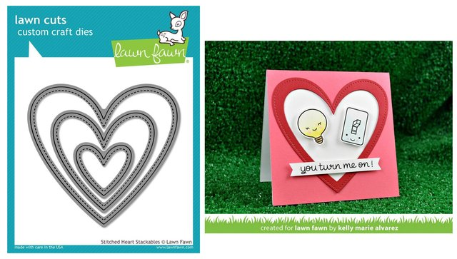 Lawn Fawn Cuts Custom Craft Die Stitched Heart Stackables / Cortante Corazones Apilables con Costura - comprar online