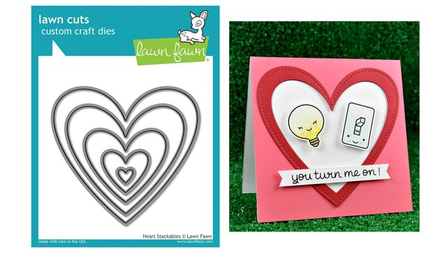 Lawn Fawn Cuts Custom Craft Die Heart Stackables / Cortante Corazones Apilables - comprar online