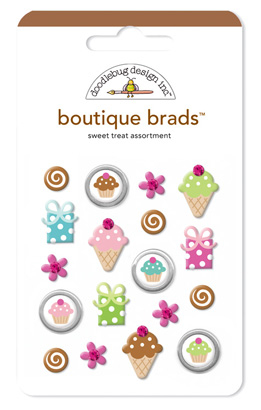 Doodlebug Boutique Brads Sweet Treat x 18 Pieces - TheCraftyShop