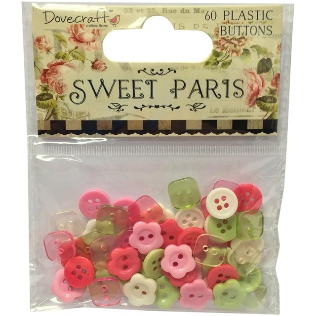 Dovecraft Sweet Paris Plastic Buttons 60/Pkg