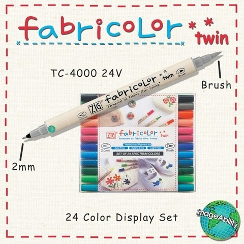 Zig Fabricolor Twin Marker Set of 12.TC-4000/12V / Kit de 12 colores marcadores para tela. - comprar online