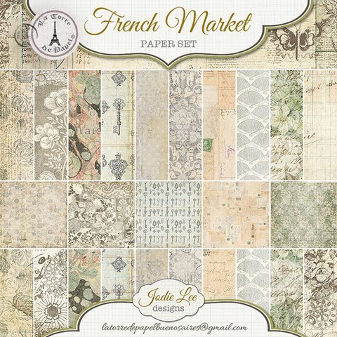 FRENCH MARKET - PACK DE 10 PAPELES 30X30 CM