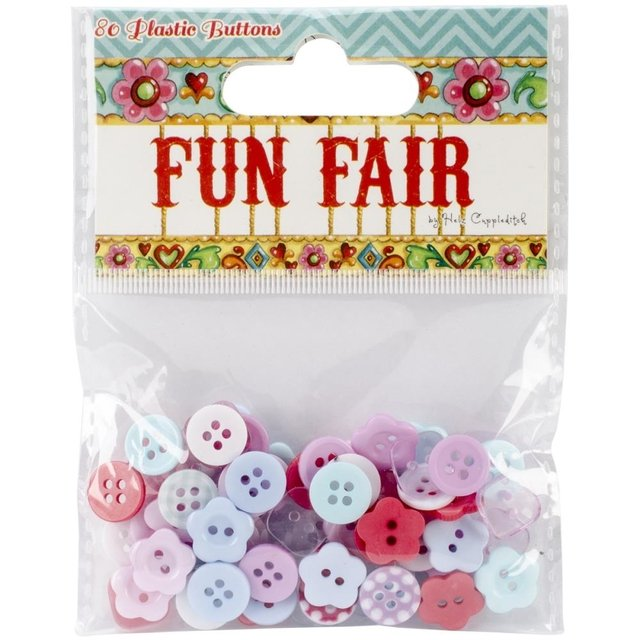 Helz Fun Fair Plastic Buttons 80/Pkg