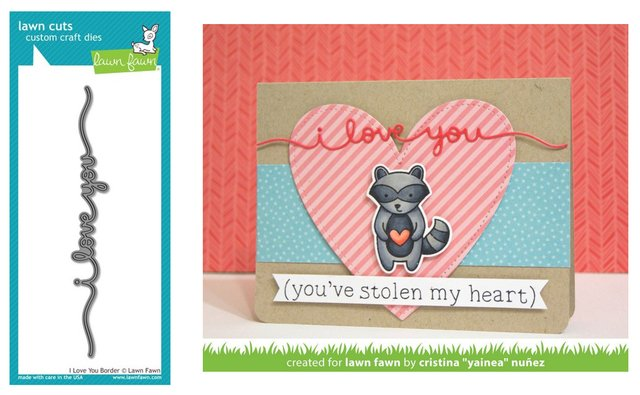 Lawn Fawn Cuts Custom Craft Die I Love You Border / Cortante Borde Te Amo - comprar online