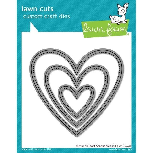 Lawn Fawn Cuts Custom Craft Die Stitched Heart Stackables / Cortante Corazones Apilables con Costura