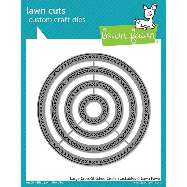 Lawn Fawn Cuts Custom Craft Die Large Cross Stitched Circle / Cortante Círculos con Punto Cruz