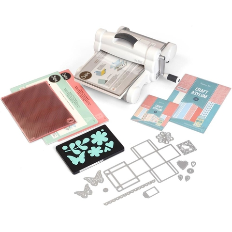Sizzix Big Shot Plus Starter Kit (US Version) / Sizzix Big Shot Pluis Máquina de Corte y Repujado Color Blanca y Gris Kit Incluído versión UK