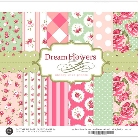DREAM FLOWERS by La Torre de Papel Buenos Aires - PACK 30X30 12X12 CON 12 PAPELES