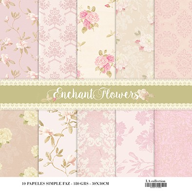 LAURA BAGNOLA - ENCHANTED FLOWERS - PACK DE 10 PAPELES 30X30 CM