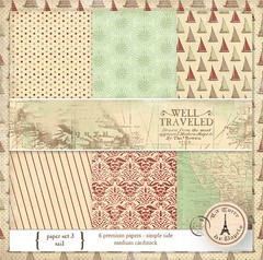 WELL TRAVEL PACK N°3 - PACK DE 6 PAPELES 30X30 CM