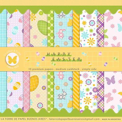 HAPPY EASTER - PACK DE 10 PAPELES 30X30 CM