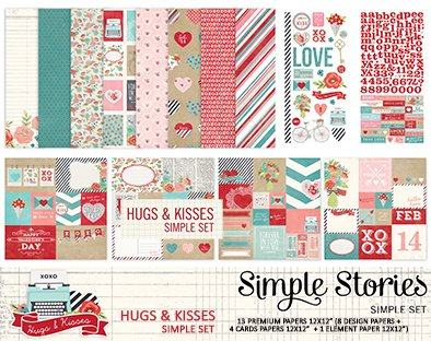 SIMPLE STORIES HUGS AND KISSES- PACK DE 13 PAPELES 30x30 CM