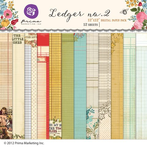 PRIMA MARKETING LEDGER Number 2 - PACK DE 12 PAPELES 30x30 CM