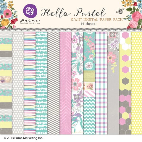 PRIMA MARKETING HELLO PASTEL - PACK DE 14 PAPELES 30x30 CM