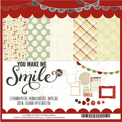YOU MAKE ME SMILE - PACK DE5 PAPELES 30x30 CM + 1 HOJA 21X29,7CM ELEMENTOS PARA RECORTAR