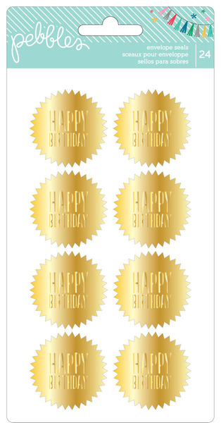 Birthday Wishes Envelope Seals 24/Pkg Happy Birthday/Gold - Sellos para Sobres en dorado x 24 piezas de 3.5cm de diámetro - comprar online
