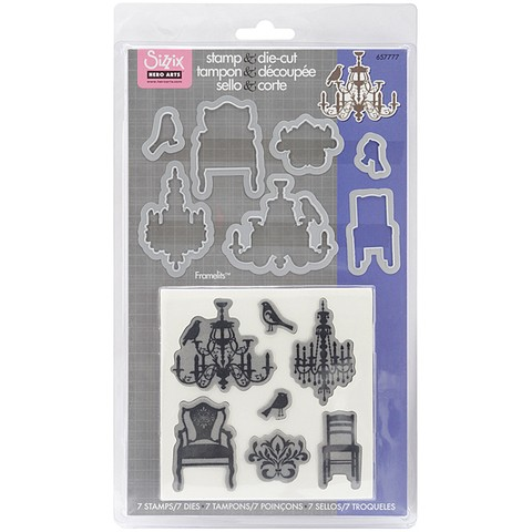 Sizzix Framelits Dies 7/Pkg W/Cling Stamps Chandeliers