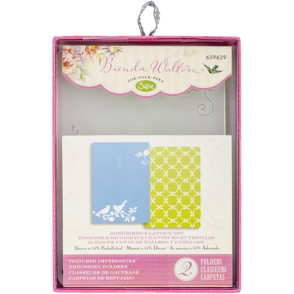 Sizzix Textured Impressions A6 Embossing Folders 2/Pkg Lattice & Songbirds (D)