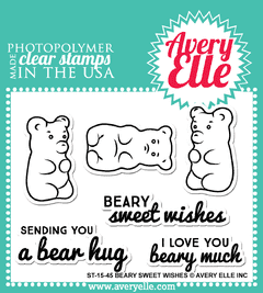 "Avery Elle Clear Stamp Set / Conjunto Sellos Avery Elle ""Beary Sweet Wishes"" - comprar online"