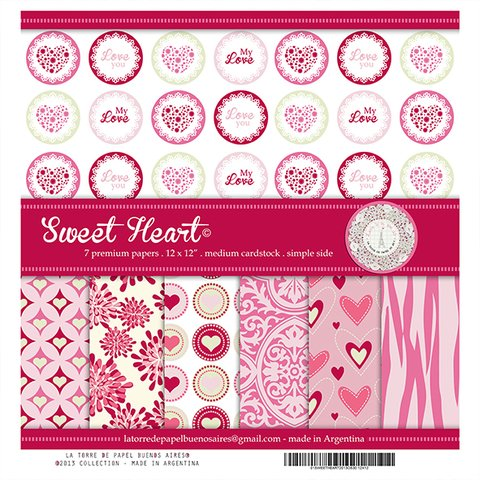 SWEET HEART - PACK DE 7 PAPELES 30X30 CM