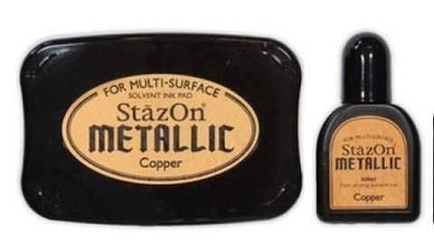 Tsukineko StazOn Metallic  Stazon inkpad set metallic copper