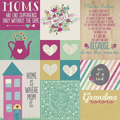 SIMPLE HEY MOM! PACK DE 13 PAPELES 30x30 CM - tienda online