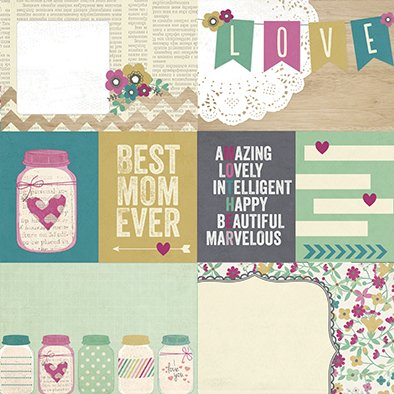 SIMPLE HEY MOM! PACK DE 13 PAPELES 30x30 CM