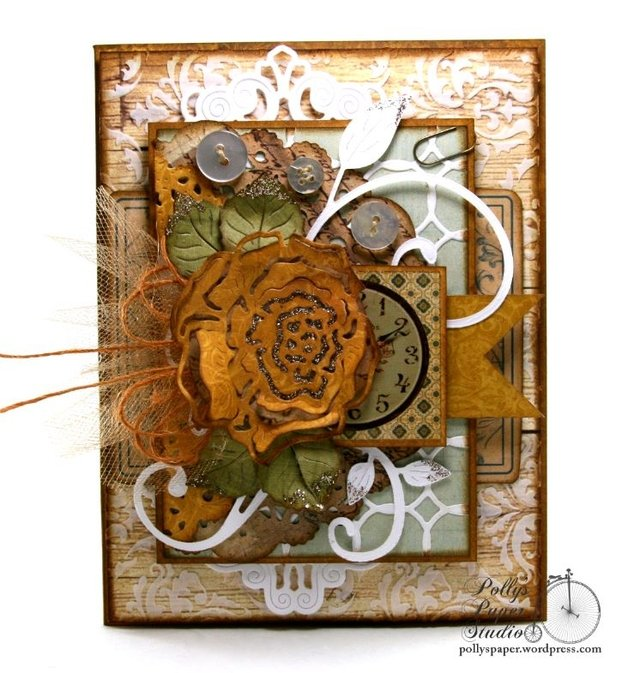 CHEERY LYNN DESIGNS Rose and Leaves 2.25 x 2