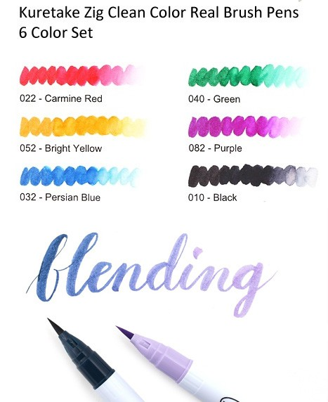 Zig Clean Color Real Brush Markers 6/Pkg / Marcadores Acuarelables Zig x 6 colores - tienda online
