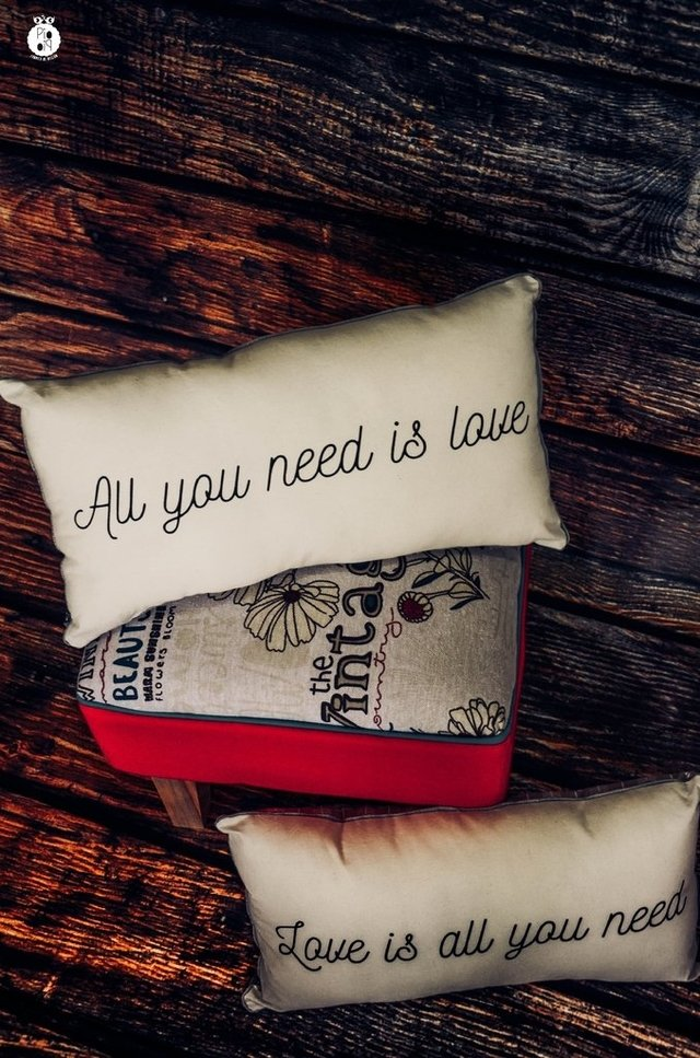 Almohadones dobles All you need is love en internet