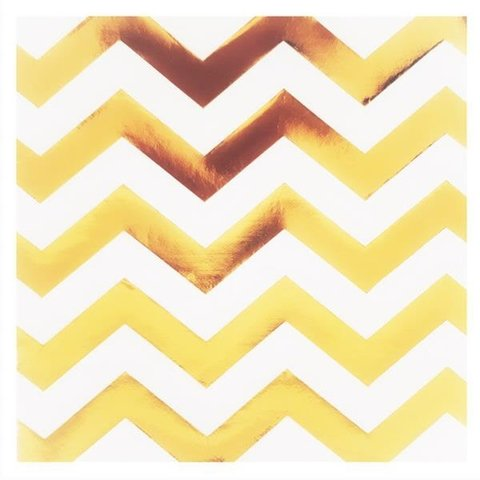 SERVILLETA CHEVRON WHITE & GOLD X20U