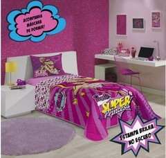 Colcha Matelassê Dupla Face Barbie Super Princesa + Máscara