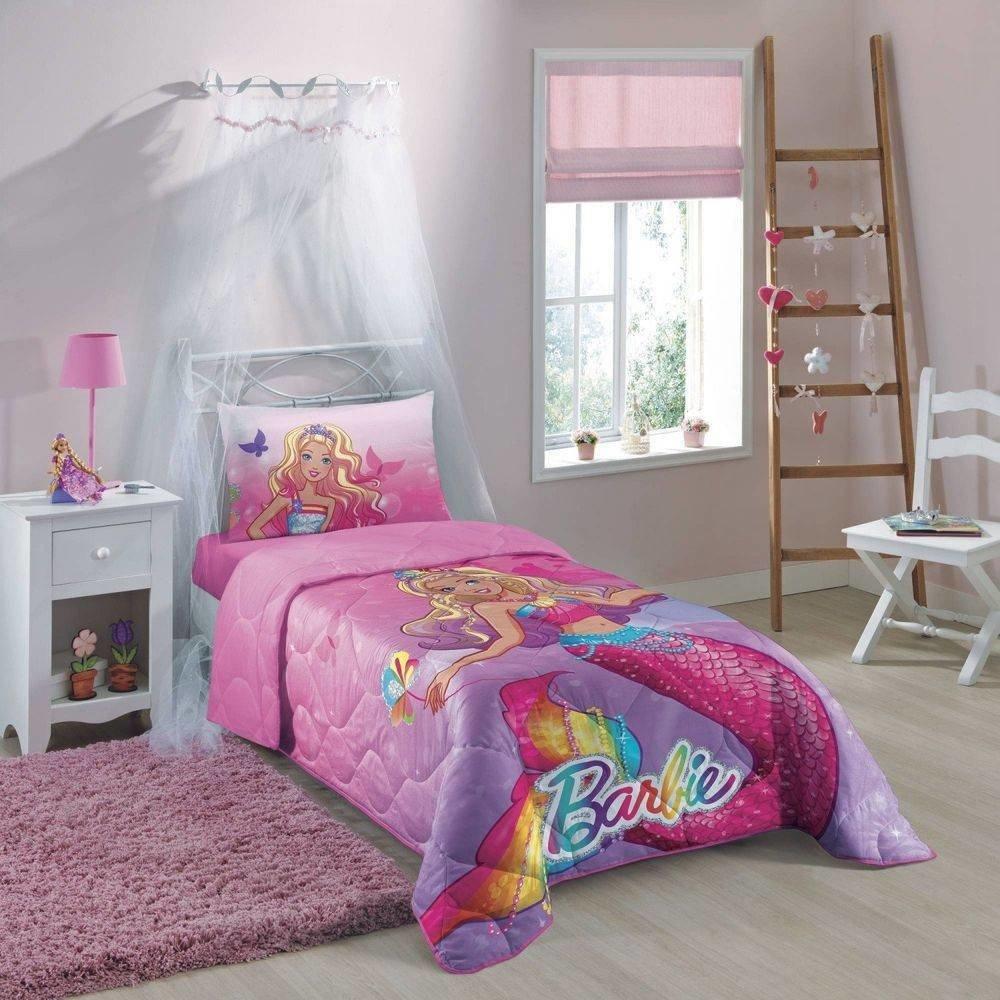4291553414 Edredom Barbie Reinos Mágicos 100% Algodão 1 Peça Lepper