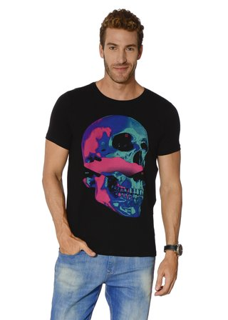 Camiseta Color Block Skull