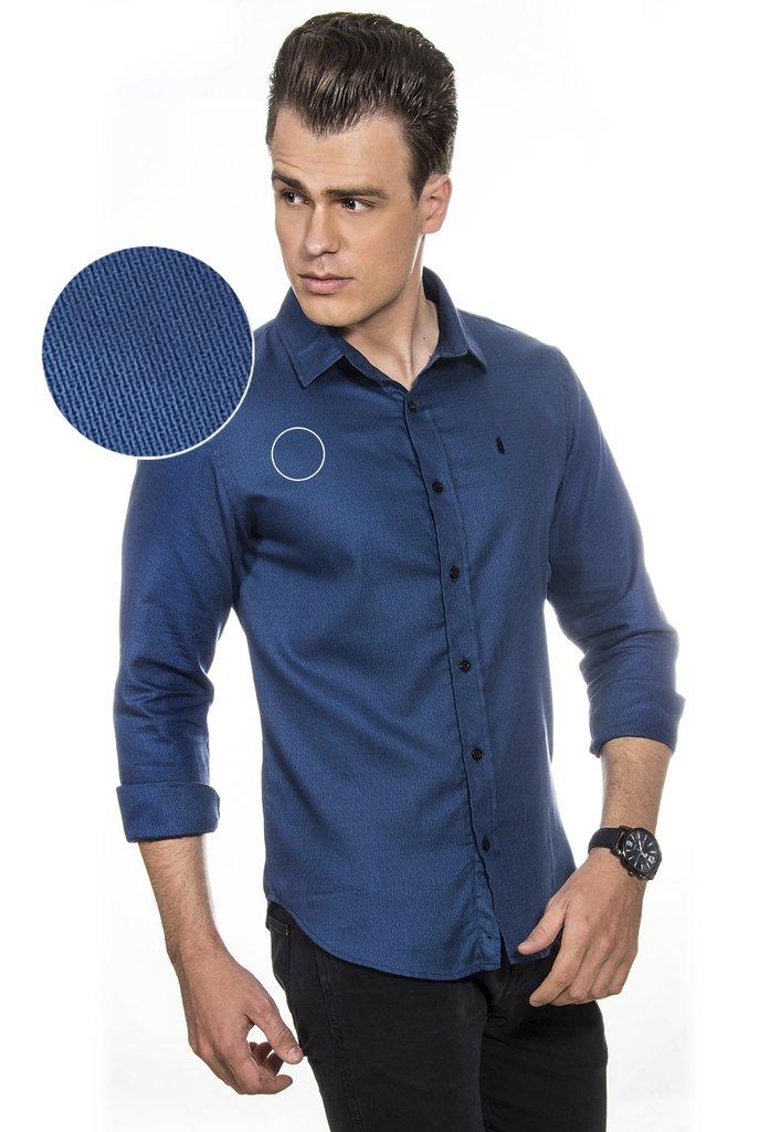 Camisa Masculina Cairo Azul Maquinetado 6813c0a9ef4