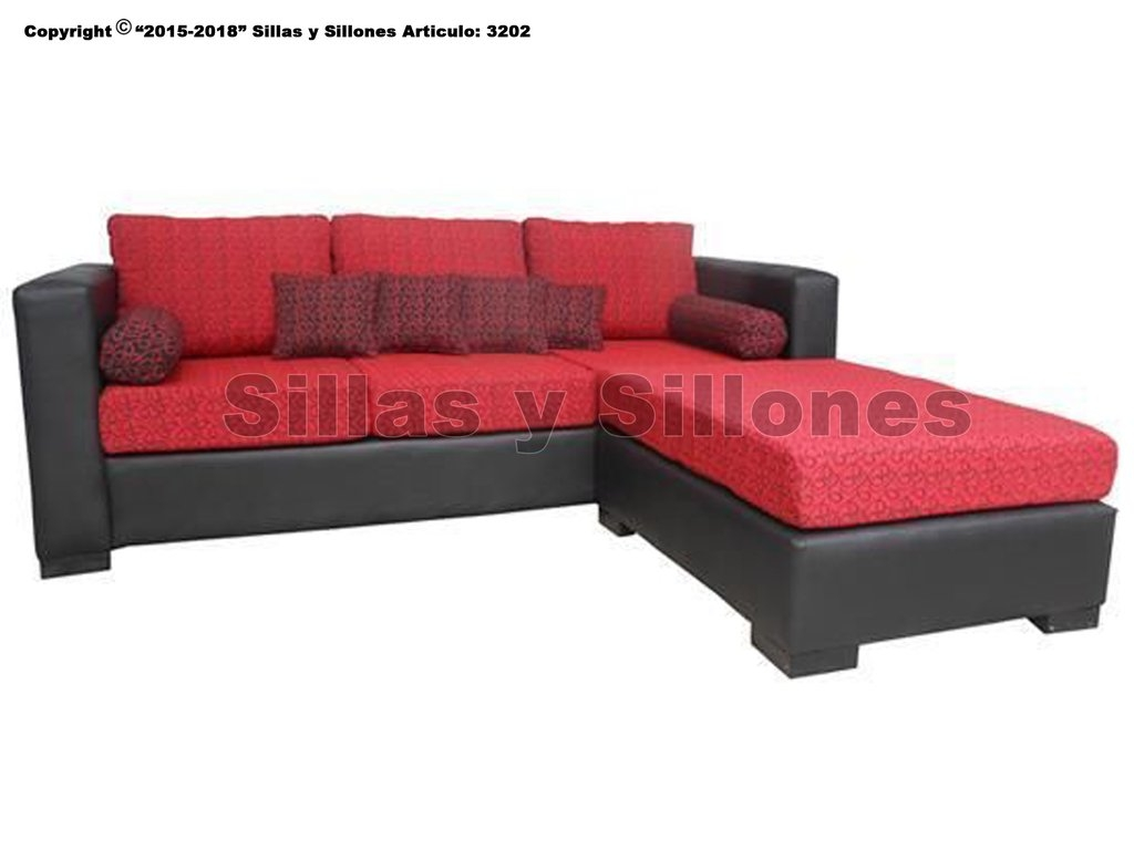 Juego Living sillon esquinero sofa 3c + camastro puff movil tapizado chenille tela y simil cuero (co