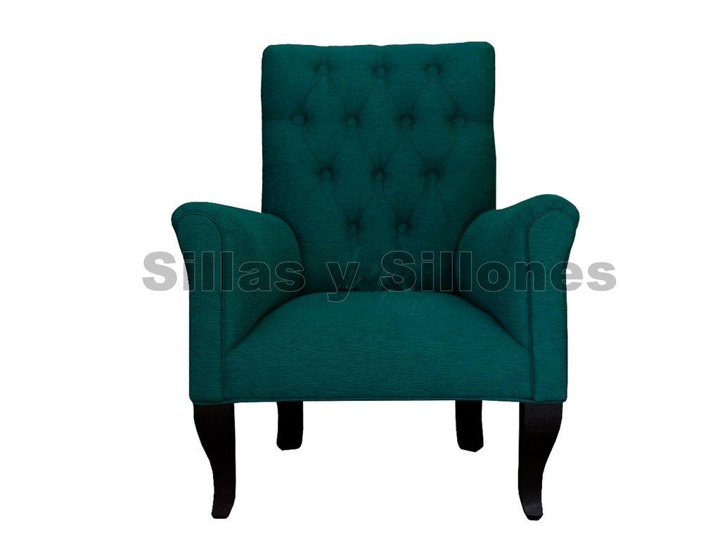 Silla Sillon sofa 1c patas madera tela chenille capitone Fabrica (copia)