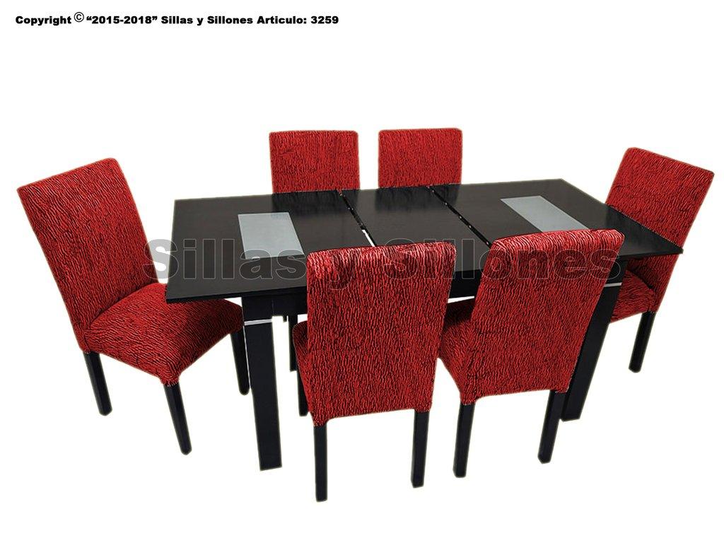Mesa Extensible Lustrada Negra o Blanca 1.40 a 1.80 Mts + 6 sillas chenille Tapizadas vestidas