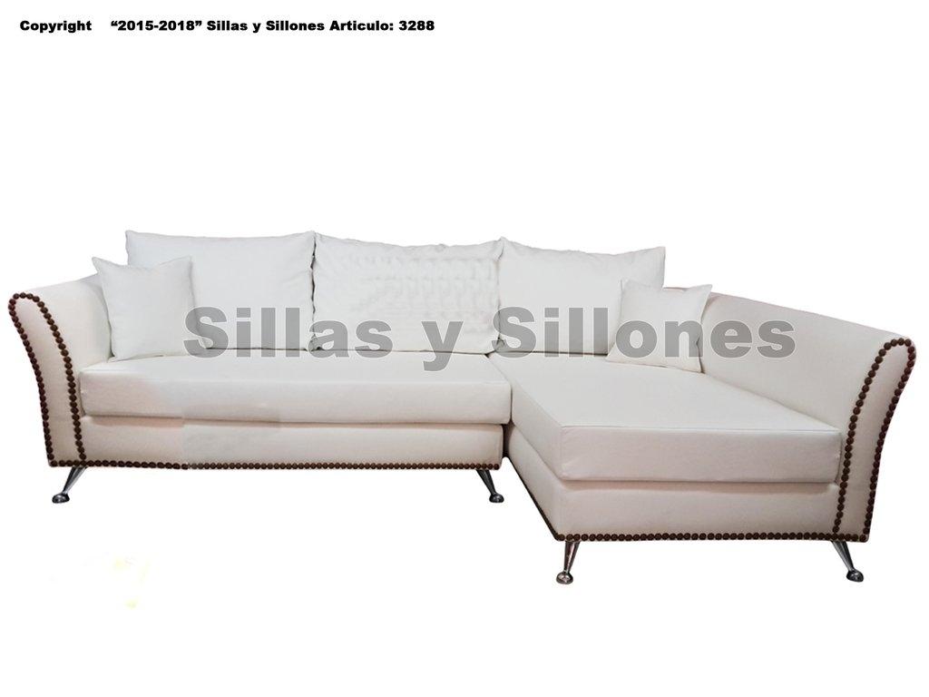 juego living Sillon sofa esquinero moderno alta gama 250x160 Mts Tachas Patas Cromadas Tela chenille