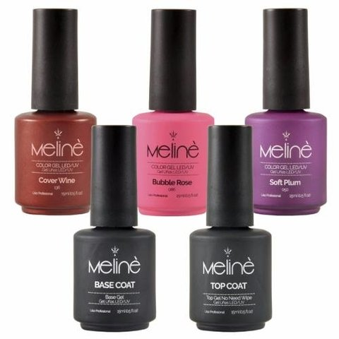 Esmaltes Semipermanentes Meliné Uv Combo Base/top +3 Colores