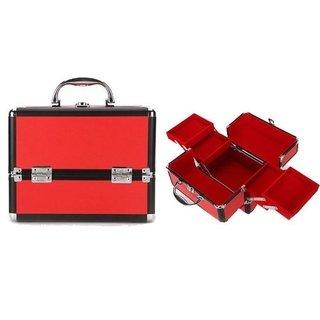 1d89ab524 Maletin Para Maquillaje Profesional Valija Con Bandejas Rojo