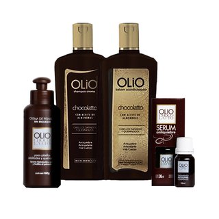 Kit Olio Chocolate Shampoo Enjuague Crema De Peinar Serum