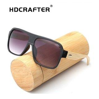 21d2133d4 HdCrafter* 0122 Óculos de Sol Masculino Bamboo Madeira Retangular Polarizado