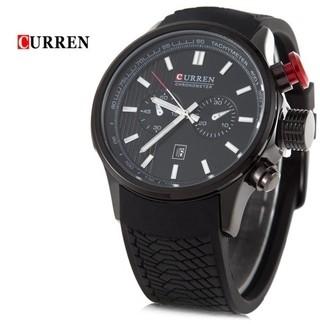 1315a634712 Curren  8175 Relógio Masculino Silicone   Aço Inox