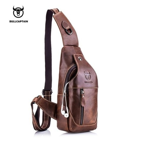 Bullcapitain* Bolsa Masculina Couro Genuíno Crossbody Bag 019