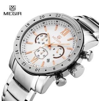 3bf725e32ce Megir  3008 Relógio Masculino Aço Inox Cronógrafo Data Automática