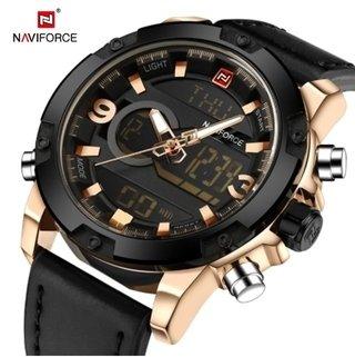 7c1083ca085 Naviforce  9097 Relógio Masculino Aço Inox Digital Couro Genuíno