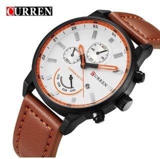 201f0c51388 Relógio Masculino Couro Genuíno Aço Inox Data Automática Curren  8217