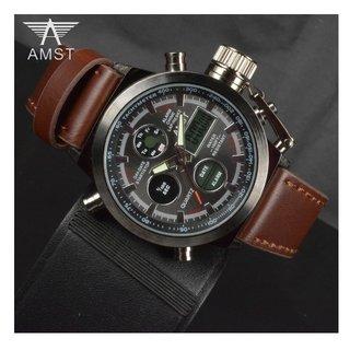 72f59fbcc2d Relógio Masculino Couro Genuíno Amst  Am3003